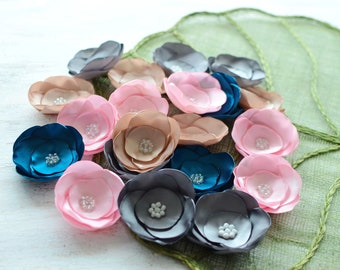 Satin fabric flowers, silk flower appliques, small satin roses, wedding flowers, bulk flowers, flower embellishment (20pcs)- GRAB BAG 414