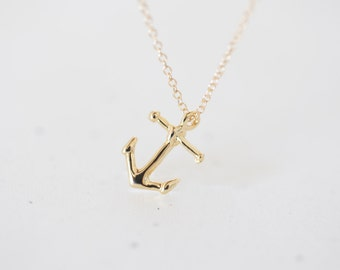 Gold Anchor Charm Necklace - small gold anchor pendant on 14k gold filled chain