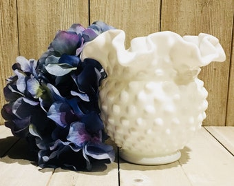 Fenton Ruffled Hobnail Milk Glass Vase