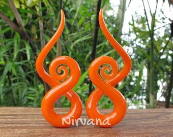 "Solid Color Orange Glass Note Spirals 10g 8g 6g 4g 2g 0g 00g 7/16"" 1/2"" 9/16"" 5/8""  2.5 mm 3 mm 4 mm 5 mm 6 mm 8 mm 10 mm - 16 mm"