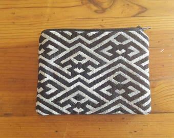 Ethnic Coin Purse Pouch / Vintage BLUE Small Change Bag / zipper