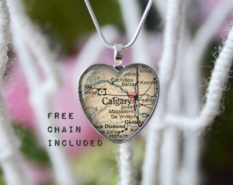 Calgary Alberta Canada heart shape vintage map necklace. Location gift pendant. Free matching chain is included.