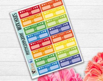 Work Hours Planner Stickers - Reminder Stickers  - Functional Stickers - Erin Condren Stickers - Happy Planner Stickers - Work stickers