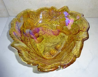 Vintage Marigold Carnival Glass Bowl Triangular Leaves and Berries