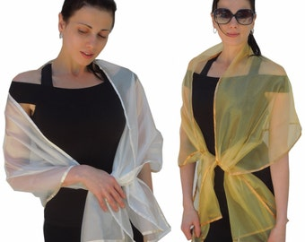 Sheer Organza Evening Wrap Shawl Stole Scarf for Prom Wedding Bride Fantasy Ethereal - Choice of color
