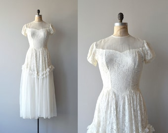Lissome wedding gown | vintage 1940s wedding dress | lace 40s wedding gown