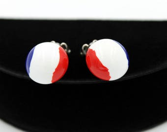 Patriotic Lucite Button Earrings, ca. 1960s, Lucite Earrings