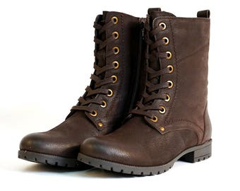 Aspele Women's Brown Nubuck Leather Combat Biker Ankle Lace Up Boots