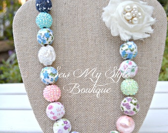Vintage inspired Fabric bead and Flower Chunky Bead Necklace/Ladies Vintage inspired Beaded Necklace