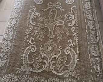 Exquisite floral design -natural fibre re-embroidered French vintage filet lace curtain / throw with romantic floral motifs