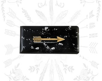 Arrow Money Clip Inlaid in Hand Painted Black Glossy Enamel with Silver Splash design Personalized and Color Options Available