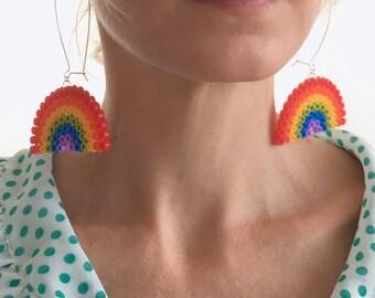 Rainbow earrings, Funny earrings, Friendship earrings, Colorful Earrings, Love earrings