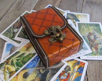 Tarot Deck Antique Brown Tarot leather Tarot bag Tarot leather case Leather pouch Tarot Card holder Leather bag