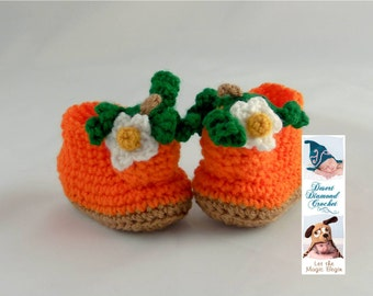 Pumpkin Baby Booties - 5 Sizes - Made To Order