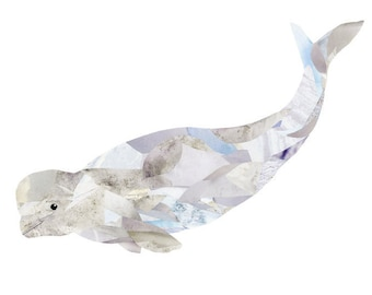 Beluga Whale Print of Original Collage