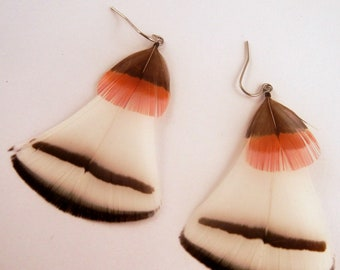 Natural Feather Earrings A Touch of red organic
