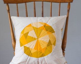 Yellow Pillow - Topaz Jewel, Quilted Gem - Pillow Cover