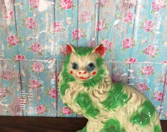 Vintage chalkware cat bank neon green red blue plaster of paris carnival prize