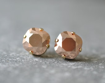 Rose Gold Metallic Earrings Swarovski Crystal Rose Gold Clip On Square Stud Earrings Rose Gold Bridal Earrings Simple Cushion Studs Wedding