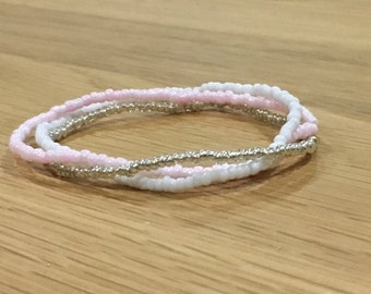 Seed bead White, Pink and Silver Bracelet