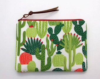 Cactus zipper bag - cactus print fabric bags - green cactus pouch - small Cosmetic purse - cute makeup bags - birthday gift ideas for her