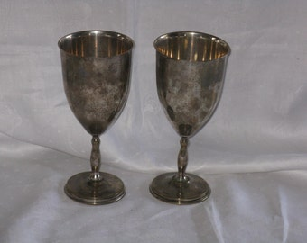 Sale Price! Pair of vintage Juvento Reyes sterling silver goblets Mexico