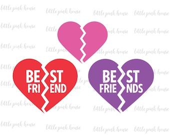 Best Friends SVG, Best Friends, BFF SVG, Bff, friends svg, friendship svg, friendship, broken heart svg, silhouette studio, instant download