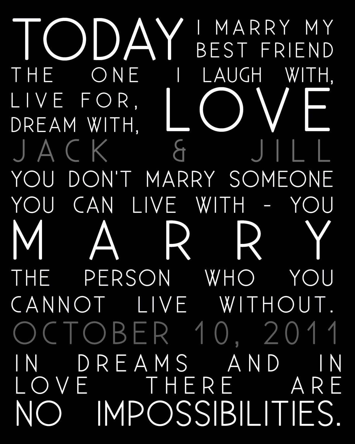 Wedding Gift Quotes Sayings: Today I Marry Quotes Wedding Print And Names Of Couple Gift