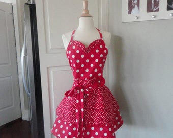 Hey Good Lookin -  Cadillac Red Dot - Sadie Apron ~ Women's Retro Apron - 4RetroSisters