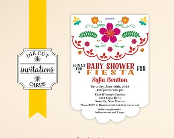 Fiesta Baby Shower Die Cut Invitations Baby Shower Die Cut Printed Invitations - Fiesta Baby Shower Invite Set of 10 with Envelopes - B22663