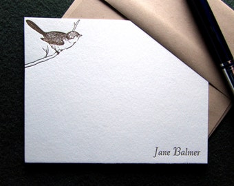 Custom Letterpress Stationery - 15 Personalized Notecards - Back to Nature Series - Bird