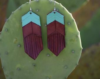 Mint leather fringe earrings