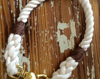 Natural 100% Cotton Rope, Snap Hook Dog Collar, Non-Choke, Harbor Hound Collar, Cotton Dog Collar, Natural Cotton Collar