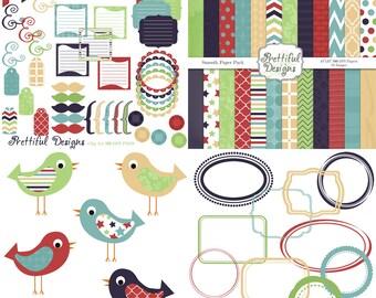 Digital Kit for Scrapbooking Digital Paper Pack Digital Frames Bird Clip Art Accessories Commercial Use-Smooth
