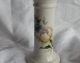 Small Vintage Blue and Cream Floral Bud / Single Stem Vase