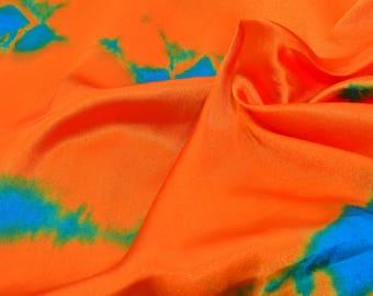 Orange and Sky Blue Batik Satin Fabric-F2005