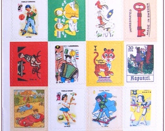 """Stamp sticker stickers for scrapbooking retro vintage """"model 16"""" 1 embroidery sheet of 20 stamps"""