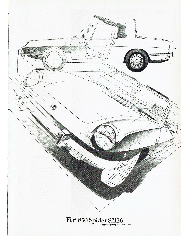 1969 Werbung Fiat 850 Spider Skizze Zeichnung Pläne die