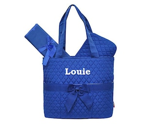 Royal Blue Diaper Bag, Zipper Pouch & Changing Pad with Monogram, Monogram Diaper Bag, Boys Diaper Bag, Blue Diaper Bag, Monogram Diaper Bag