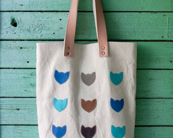 Cats canvas tote bag Sailcloth Bag Leather cat bag Leather handles bag Beach bag Summer tote