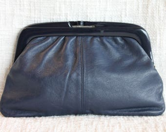 Retro Navy Blue Leather Clutch Purse, Eaton's Vintage Purse, Vintage Italian Leather Purse