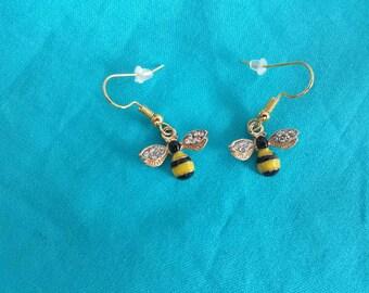 Bee earrings with Rhinestone wings