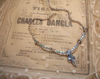 Collier Vintage strass style boucher articulé collier deux ton cristal et collier de mariage de réglable bleu saphir clair