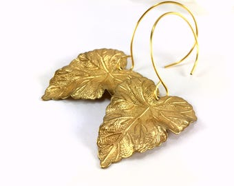 Leaf Earrings Gold Leaf Earrings Leaf Pendant Earring Leaf Jewelry Long Dangle Nature Jewelry Woodland Jewelry Brass Boho Dangle Earrings