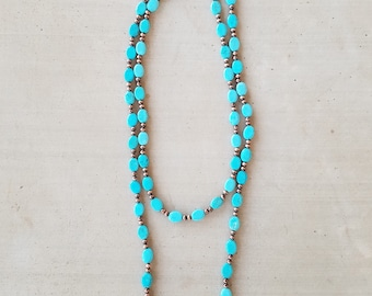 Turquoise and Copper Navajo Pearls Necklace