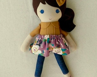 Fabric Doll Rag Doll 20 Inch Brown Haired Girl in Mustard Yellow Top and Mauve Floral Skirt