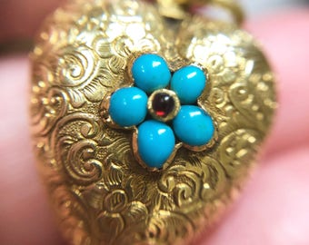 Antique Georgian turquoise, ruby and gold heart locket, with natural pearl and hair