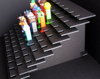 81 PEZ Display Shelf Stadium Style - Holds 81 Dispensers - Black or White