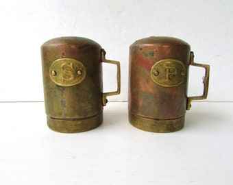 Vintage Copper and Brass Salt and Pepper Shakers - Large Handled Salt and Pepper Shakers - Brass Patina - Copper Patina -
