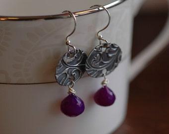 Purple Flourish Ovals on Fine Silver earrings with briolette